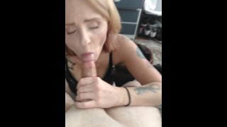 Real amateur cheating Wife Sucks off young stud guys cock from bar while husband is asleep real!!!!