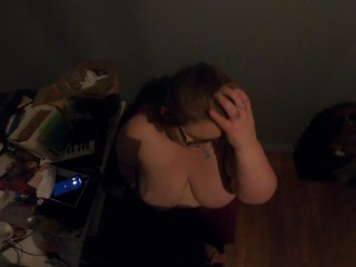 POV Sexy BBW with huge boobs gives me a blowjob in my room (she has a boyfriend) (hes okay with it)