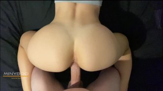 POV Morning Quickie with Perfect Ass Fit Teen ends with Cum on Ass. He couldn't handle ;) - minyboo