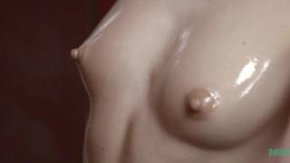 Extreme close up on Talia Mints tits