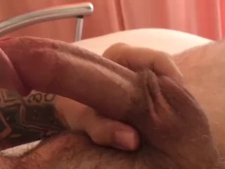 The guy got horny and jerked off his dick on the bed PART 2
