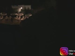 Amateur Balcony fuck in a hotel - while people having a party by the pool - very risky