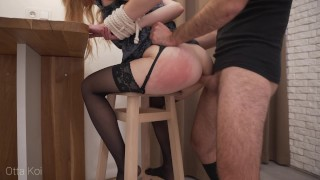 Screen Capture of Video Titled: Rough spanking and loud moaning during hardcore fuck with tied up babe. Male domination - Otta Koi