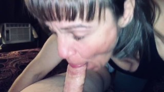 My mature cougar wife 48 sucking our younger friends cock 28 till he explodes in her mouth.