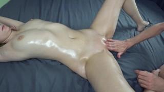 Sensual oiled massage, oil tits massage, fingering orgasm