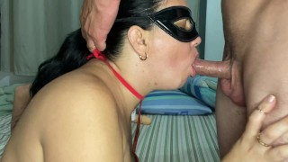 Swallowing her husband's hot cock