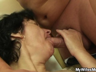 Hairy motherinlaw riding his cock and busted by wife