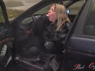 Slut-Orgasma Celeste equine dildo deep throat on a public parking lot before shopping