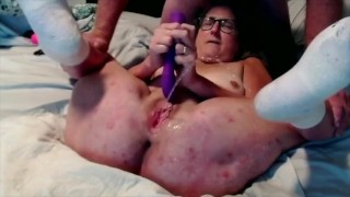 Senior Wife Works A Dildo In Her Shaved Pussy To Multiple Squirts