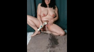 Insanely Busty Girl Masturbates to Long Powerful Squirt