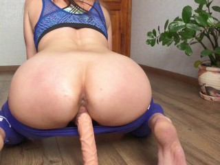 Big Ass in Leggings Rides Dildo Rubbing Dildo And Moans Loudly