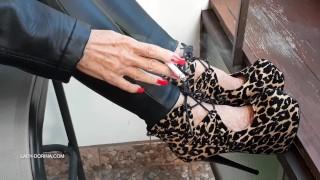17cm leopard high heels...and smoking