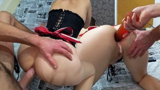 Subscribers Gift - Hard Ass Fucking and Playing Huge Toys With My Holes - Triple Penetration