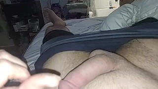 Teasing my dick like Mistress ask and didn't have full orgasm just a little pre-cum for the preview