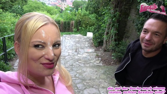 Public sex with cumwalk and facial for german skinny blonde