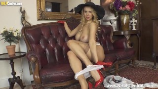 Classy big tits Milf Lucy Alexandra wanks in hat gloves nylons and high heels