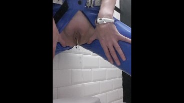 Lisa pissing while wearing latex jeans
