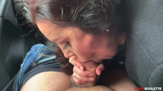 Blowjob and cum swallowing in the car. What could be better?