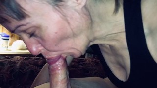 Granny sucks the life and cum out of our younger friends cock