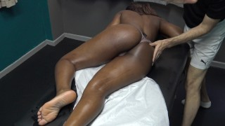 Sexy Black Wife Gets Full Body Sensual Massage by her Masseur fucking Big Cock