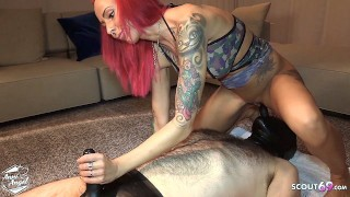 German Redhead Teen Hooker Facefuck Client in Latex Outfit