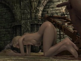 Hot and sexy slut with big boobs Alissa fucks perv and horny guards in Skyrim! Ep-2.