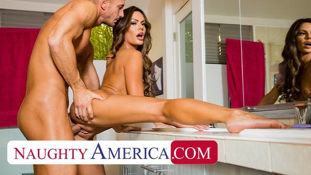 Naughty America - Aila Donovan fucks in the bathroom
