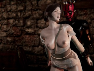 Rey Fucked by Darth Maul Star Wars Porn BJ, Tied Up, Doggystyle