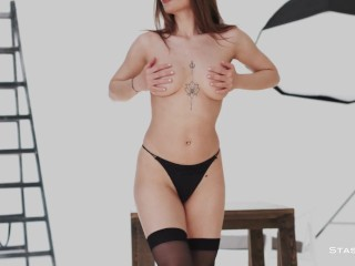 MelonyQ Wearing The Tightest Black Set Of Lingerie