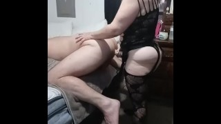 Pegging Slave's Ass hard