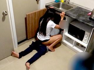 Thai Student Fucks her Plumber in the Kitchen