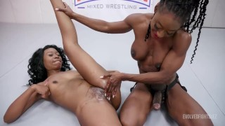 Lesbian Wrestling As Kelli Provocateur Fights Mocha Menage With The Loser Strapon Fucked