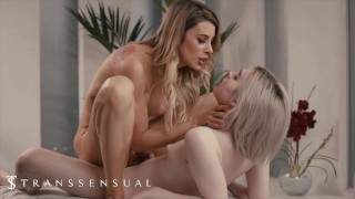 Trans Sensual - Sexy Blonde Casey Kisses Give Ella Hollywood A Fantastic Massage Session