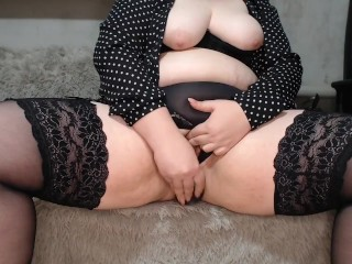 Russian BBW in stockings and panties fucks herself with a dildo