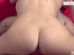 CastingFrancais - Rose Voluptuous Canadian Teen Takes Her First Big Dick During Audition