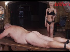 She turns Her attention to slave's useless dick