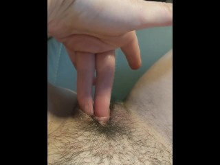 Up close hairy pussy finger fuck