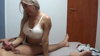 StepMom massage Stepson cock