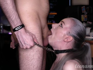 He tied me to his cock and fucked me in the throat!