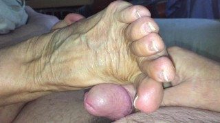 Granny Ann Loves To Use Her Veiny Feet To Make You Cum