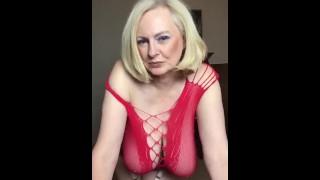 Annabel's red fishnet dress