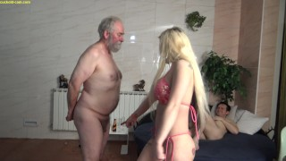 slutty bimbo bitch humiliate her old cuckold husband about his small dick