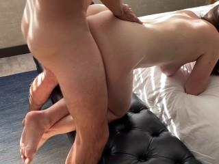 MILF Squirts and Gets Covered in Hot Cum On Lunch Break in Hotel