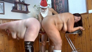 Christmas surprise 12 -double dildo in the pussies