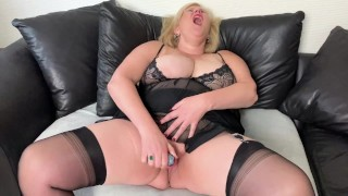 Filthy Big Tit Step Mom enjoys a meal Orgasm as she pokes her wet Pussy