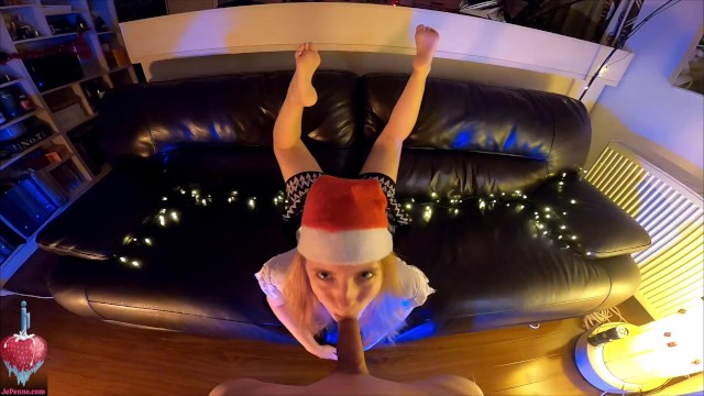 Christmas blowjob with soles in view - foot fetish POV