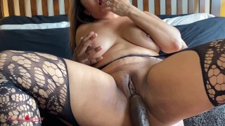 Asian Hotwife Sucks and Fucks BBC while Cuck Hubby watches her get a Creampie