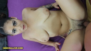 Busty Arab's 18-Year-Old Unshaven Pussy Stretched by Huge Cock Hot Sweaty POV Action - Part 1 of 2