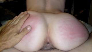 Slapping ass red after cumming deep inside dirty little slut