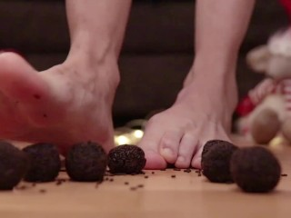 Barefoot Crushing Dried Chocolate Candy